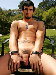 Phenix Saint plays with his pierced cock