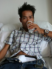 Cute Asian boy sipping beer before guzzling cum