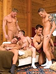 Muscle orgy: Roman Heart, Adam Killian, Shane Frost, Landon Conrad, Gavin Waters, Brandon Bangs, Angelo Marconi, Tony Buff