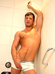 Danny jacking off in a shower