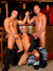 Three muscle guys Peter Shadow, Tom Taylor and Igor C
