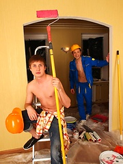 Homo teen couple tries out sex on the ladder at work