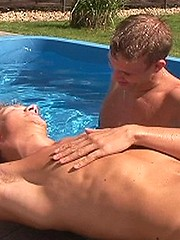 Thierry and Trevor at the pool