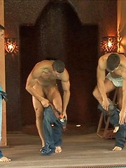 Muscle studs in a gay gang bang action