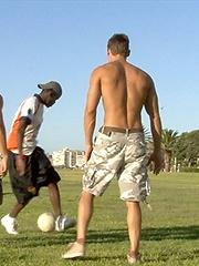 Sexy jocks paly soccer and fuck