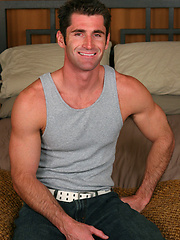 Grant, muscle hunk shows cock