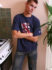 Cute czech twink boy posing in the kitchen