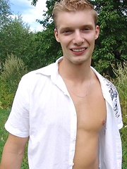 Blond european twink outdoors