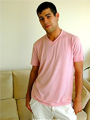 Hairy gay latino boy Tobias jacking off