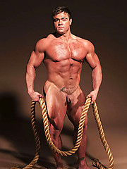 Muscle man shows cock and butt