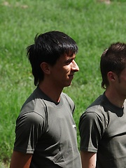 Military boys Florian and Lian Frost fucking and sucking in the field.