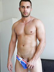 Muscle boy James films himself lifting weights and jacking off