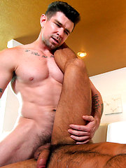 Horny daddy pounds muscle jock's hungry holes.