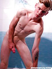 Blonde boy Iann takes shower