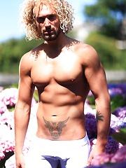 Erik blond muscular hunk garden shoot