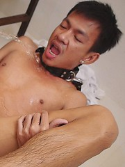 Submissive twink gets his ass filled with steamy yellow piss from his king.