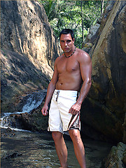 Hunky Marcello causes a splash in his sexy white pants