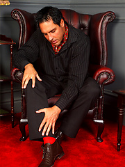 Italian Stallion Marcello is dressed in a pin stripe suit and he loves to masturbate hard