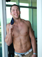 College jock Heath plays with his cock