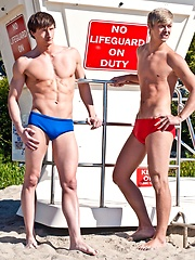 Hot lifeguards Lance Alexander and Alex Waters sucking each others cocks