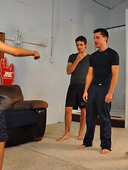 Hot and slender Wolfie is teaching Blaine, Krys Perez, and Chico to gyrate their twink bubble butts like pro\'s