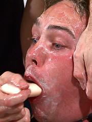 Hetero man Joel is subjected to extreme bondage at Breeder Fuckers