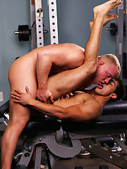 College boys having sex in a gym