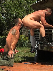 Spencer Reed and Dirk Caber in a cock sucking action scene