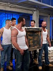 Six muscle men fucking