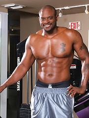 Bald ebony muscle man Diesel Washington