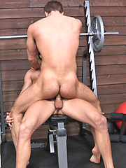 Hot studs Brandon and Pavel fucking in a gym