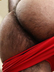 Hairy muscle man Marco Rios shows his perfect body and hairy ass