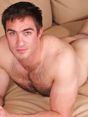 Muscle hairy hunk Keane strokes dick