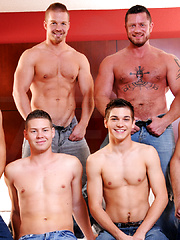 Dudes gos foursome in a room