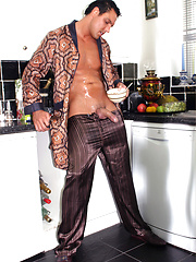 Hunky Marcello makes his own cream with his morning coffee