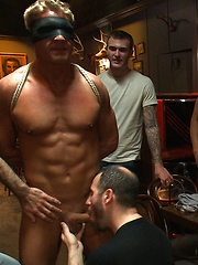 Blond Muscle stud blindfolded, flogged, humiliated and fucked