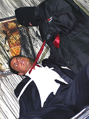 Marcello is tied up in a burnt out house by a masked man, who then apologises by licking his feet and sucking his big hard cock