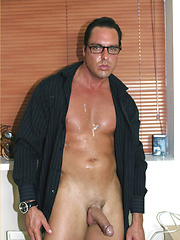 Marcello has a black suit on with silky stockings underneath, feeling so turned on, he uses his flesh light to cum in his fetish