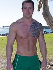 Handsome jock Bran posing