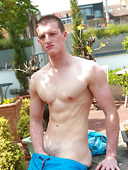 Lean Footballer Nate Enjoys Showing off in the Sun Shine - A Very Hard Uncut Cock & Hair Free Hole!
