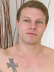 Straight Young Toned Lad Russell shows off  his Uncut Cock and Very Hard Erection!