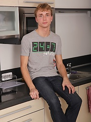 Smooth twink Jackson Madden busts nut on kitchen counter.