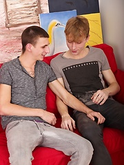 Jackson Madden and Jesse Jenkins bang on the sofa.