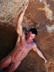 Muscle hunk Gage posing naked outdoors