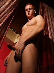 Blu Kennedy shows his red pubic hair and cock