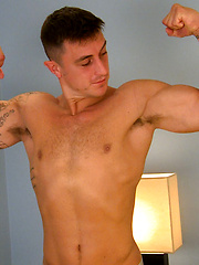 Muscular Straight Lad Max Undresses & Wanks his Big Uncut Cock