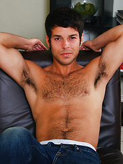 Hairy college boy jerks off.